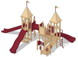 Maroon Play Mart Playground Recycled Equipment