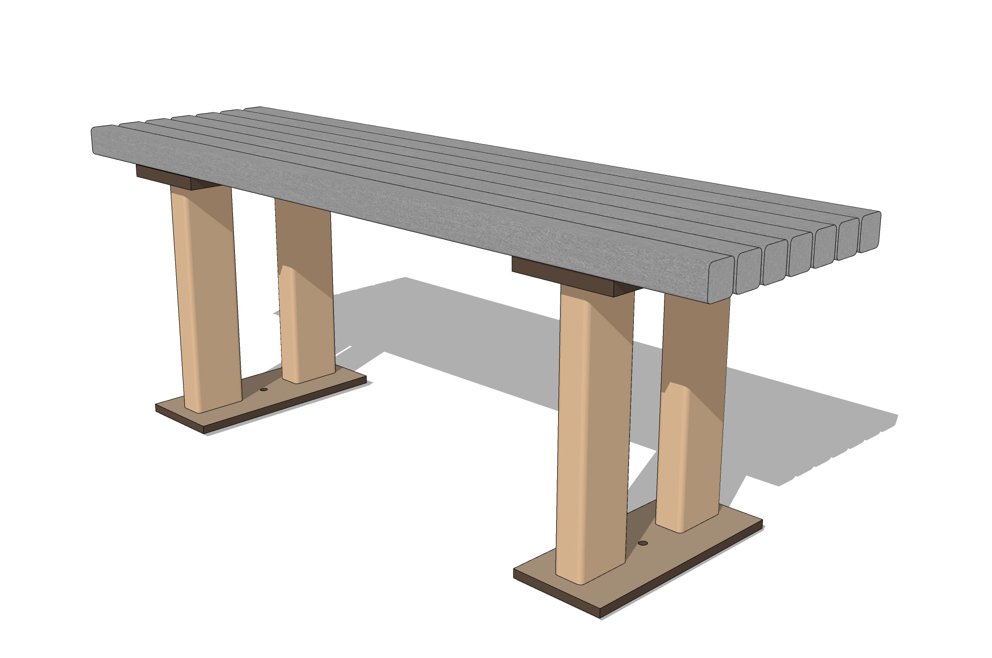 4 FT ADULT FLAT BENCH - 1